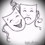 Крутой ваирант эскиза для тату маска - рисунок для разработки эксклюзивной татуировки с маской