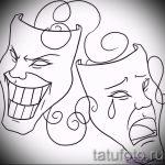 Необычный ваирант эскиза для наколки маска - рисунок для создания эксклюзивной татуировки с маской