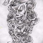 Классный ваирант эскиза для татуировки маска - рисунок для создания интересной татуировки с маской