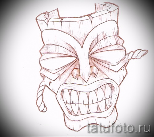 Необычный ваирант эскиза для тату маска - картинка для разработки эксклюзивной татуировки с маской