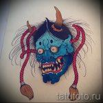 Интересный ваирант эскиза для наколки маска - рисунок для создания уникальной тату с маской