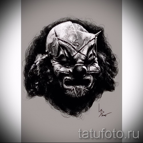 Зачетный ваирант эскиза для татуировки маска - картинка для разработки интересной татуировки с маской