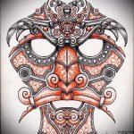 Достойный ваирант эскиза для наколки маска - картинка для создания интересной татуировки с маской