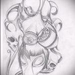 Крутой ваирант эскиза для татуировки маска - картинка для создания интересной тату с маской