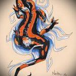 Классный эскиз для тату саламандра – изображение для формирования идеи уникальной tattoo с саламандрой