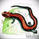 Стильный эскиз для татуировки саламандра – картинка для формирования задумки эксклюзивной tattoo с саламандрой
