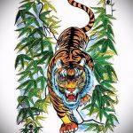 Прикольный эскиз тату тату тигр (рисунки для татуировки с тигром) - вариант рисунка эскизы тату тигр (рисунки для татуировки с тигром) для создания эксклюзивной идеи тату тигр
