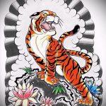 Оригинальный эскиз тату тату тигр (рисунки для татуировки с тигром) - вариант рисунка эскизы тату тигр (рисунки для татуировки с тигром) для разработки эксклюзивной идеи тату тигр