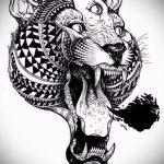 Прикольный эскиз наколки тату тигр (рисунки для татуировки с тигром) - идея рисунка эскизы тату тигр (рисунки для татуировки с тигром) для создания интересной идеи татуировки тигр