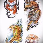 Крутой эскиз тату тату тигр (рисунки для татуировки с тигром) - вариант рисунка эскизы тату тигр (рисунки для татуировки с тигром) для разработки стильной идеи татуировки тигр