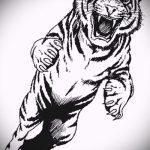 Прикольный эскиз татуировки тату тигр (рисунки для татуировки с тигром) - идея рисунка эскизы тату тигр (рисунки для татуировки с тигром) для создания стильной идеи татуировки тигр