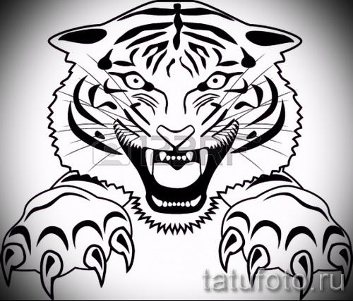 Интересны эскиз тату тату тигр (рисунки для татуировки с тигром) - вариант рисунка эскизы тату тигр (рисунки для татуировки с тигром) для разработки интересной идеи тату тигр