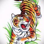 Оригинальный эскиз татуировки тату тигр (рисунки для татуировки с тигром) - вариант рисунка эскизы тату тигр (рисунки для татуировки с тигром) для создания интересной идеи татуировки тигр