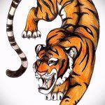 Достойный эскиз тату тату тигр (рисунки для татуировки с тигром) - вариант рисунка эскизы тату тигр (рисунки для татуировки с тигром) для создания стильной идеи тату тигр
