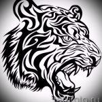 Прикольный эскиз татуировки тату тигр (рисунки для татуировки с тигром) - вариант рисунка эскизы тату тигр (рисунки для татуировки с тигром) для создания интересной идеи татуировки тигр