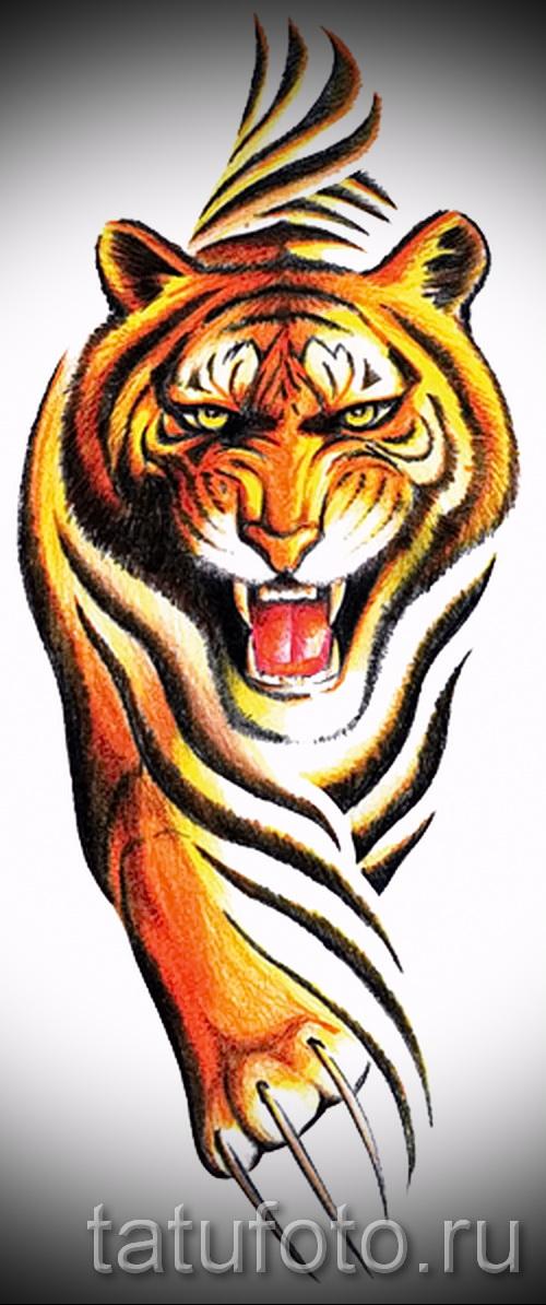 Достойный эскиз татуировки тату тигр (рисунки для татуировки с тигром) - идея рисунка эскизы тату тигр (рисунки для татуировки с тигром) для создания эксклюзивной идеи татуировки тигр