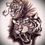 Достойный эскиз татуировки тату тигр (рисунки для татуировки с тигром) - вариант рисунка эскизы тату тигр (рисунки для татуировки с тигром) для разработки эксклюзивной идеи татуировки тигр