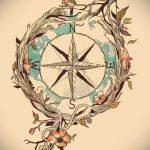Интересный рисунок с розой ветров – подойдет для эскиза под зачетную тату