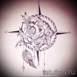Качественный рисунок с розой ветров – подойдет для эскиза под качественную татуировку