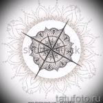 Красивый рисунок с розой ветров – подойдет для эскиза под крутую татуировку