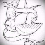 Классный рисунок ласточки - который хорошо подойдет как эскиз для заметной татуировки ласточка