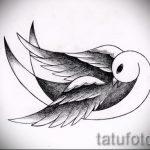 Красивый рисунок ласточки - который классно подойдет как эскиз для заметной татуировки ласточка
