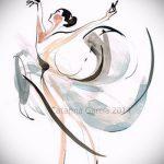 Пример стильного эскиза для татуировки с балериной - создание классной идеи для татуировки