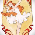 Пример стильного эскиза для наколки с балериной - создание оригинальной идеи для тату