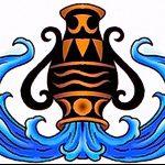 Красивый вариант эскиза татуировки водолей – символ водолея (созвездие) – картинка для татуировки