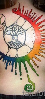 Крутой вариант татуировки радуга на фотографии – для публикации про историю рисунка радуги в тату