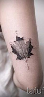Идея классного рисунка в готовой татуировке клен для записи про смысл клена в татуировке