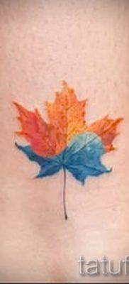 Идея интересного рисунка в готовой татуировке клен для публикации про толкование клена в тату