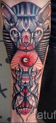 Стильный вариант татуировки сфинкс – можно использовать для сфинкс с крыльями тату