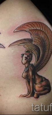 Уникальный вариант тату сфинкс – можно использовать для тату на плече цветная кошки сфинксы