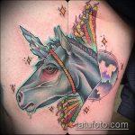 Прикольный вариант существующей татуировки единорог – рисунок подойдет для тату единороги пегасы
