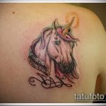 Крутой пример выполненной татуировки единорог – рисунок подойдет для тату единорога для мужчин