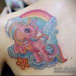 Уникальный пример выполненной татуировки единорог – рисунок подойдет для тату единорог прикол