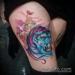 Уникальный вариант выполненной татуировки единорог – рисунок подойдет для тату единорог космос