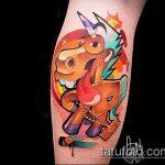 Прикольный вариант готовой тату единорог – рисунок подойдет для тату единорог лошадь