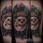 Уникальный пример готовой тату ежик – рисунок подойдет для тату ежик и медвежонок