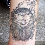 Зачетный вариант готовой татуировки ежик – рисунок подойдет для тату ежик на руке