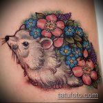 Зачетный вариант готовой наколки ежик – рисунок подойдет для тату ежик и медвежонок