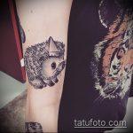 Интересный вариант выполненной татуировки ежик – рисунок подойдет для тату ежик на животе