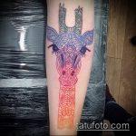 Зачетный вариант существующей наколки жираф – рисунок подойдет для тату жираф акварель