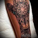 Крутой пример нанесенной тату жираф – рисунок подойдет для тату жираф на акуле