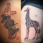 Прикольный вариант выполненной татуировки жираф – рисунок подойдет для тату жираф на рукетату жираф на пальце