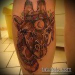 Оригинальный пример существующей наколки жираф – рисунок подойдет для тату жираф на предплечье