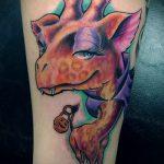 Интересный вариант выполненной тату жираф – рисунок подойдет для тату жираф маленькийтату жираф моноцвет