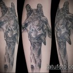 Классный пример нанесенной тату жираф – рисунок подойдет для тату жираф ёжик жираф