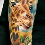 Прикольный пример готовой тату жираф – рисунок подойдет для тату жираф на акуле